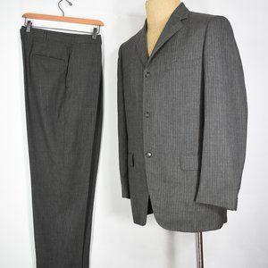 vintage 60's wool suit 38 32 x 28 striped wool